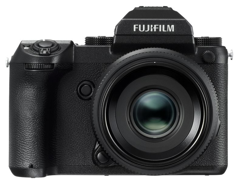 product image of the front of the new fujifilm medium format camera
