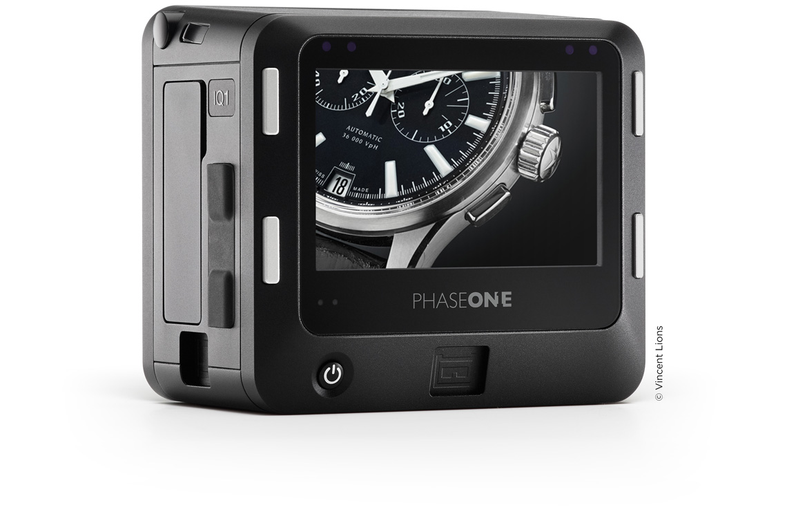 produce image of the Phase One IQ1 back with a watch shown on the LCD screen