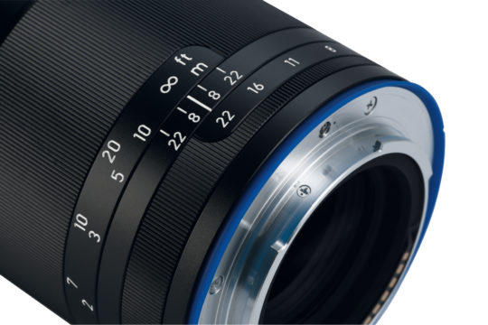 product image of the ZEISS Loxia 2.4/85 up close showing its lens mount