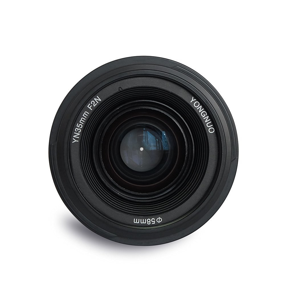 product image showing the front element of the new yongnuo 35mm f2 lens