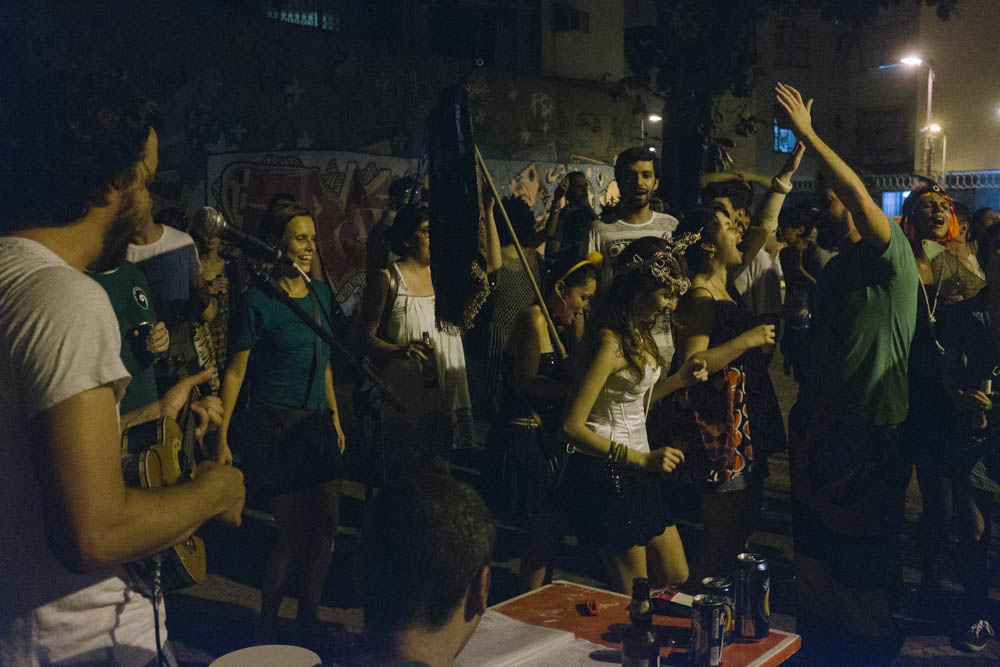 Image of partiers during carnaval in Rio de Janeiro shot with Fuji camera
